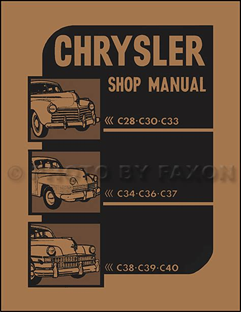 mechanics indoors and out classic reprint books 1941 1948 chrysler repair shop manual reprint all models