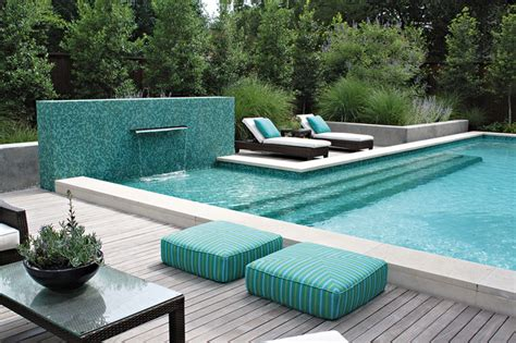 pool with mosaic wall and fountain contemporary pool