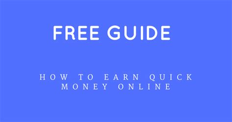 How To Make Money Quick Online Free - how to earn quick money for your financial needs free pdf ogbongeblog