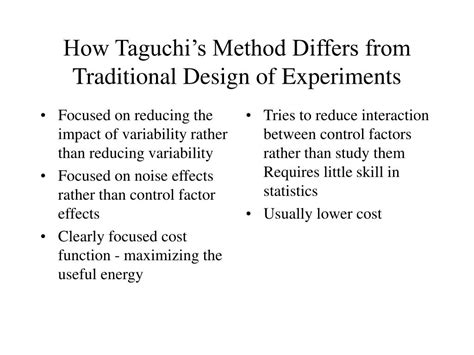 design of experiments powerpoint ppt what is robust design or taguchi s method
