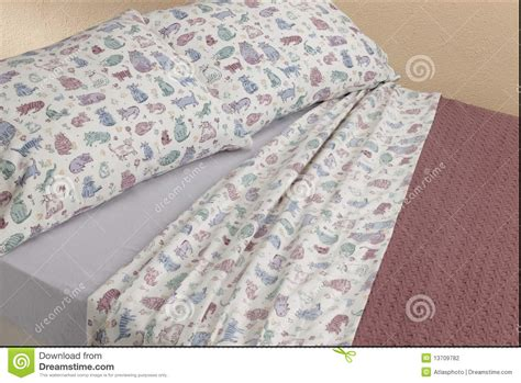 cat bed sheets kitty cat sheets on bed stock photography image 13709782