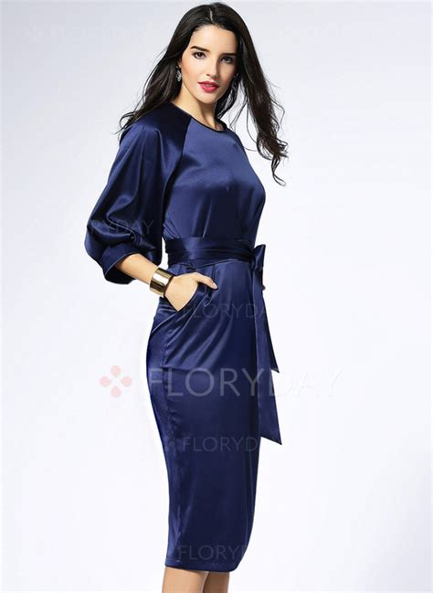 Sleeve Midi Sheath Dress solid 3 4 sleeves midi sheath dress floryday