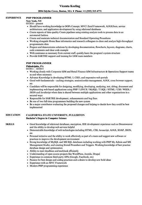 php programmer resume assisted living executive director