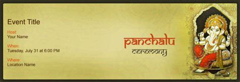 Free Panchalu Ceremony invitation with India?s #1 online tool