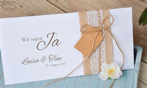 Hochzeit Einladungskarten Spitze by Einladungskarten Hochzeit Vintage Quot Sackleinen Spitze Quot