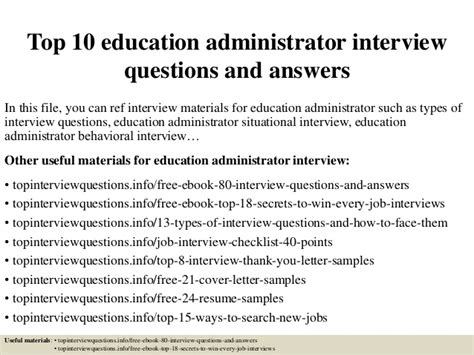 top 10 education administrator questions and answers