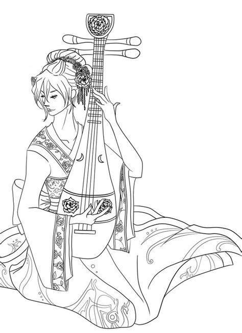 Free Coloring Pages Of Geisha Girl Geisha Coloring Pages