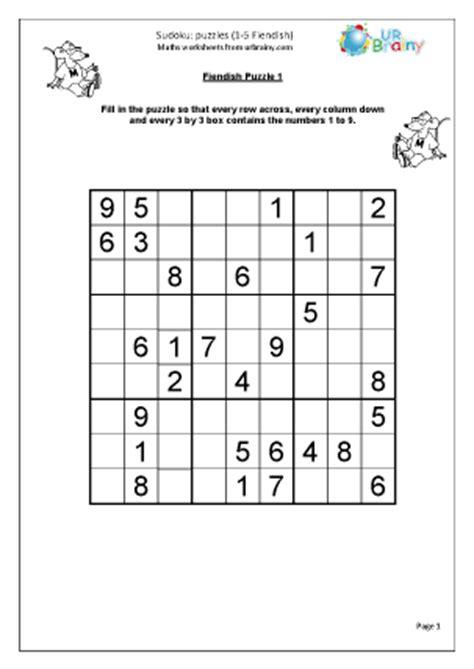 printable sudoku fiendish sudoku 1 to 5 fiendish wet break holiday activities