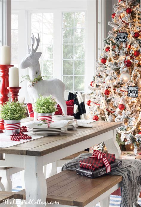 Cottage Kitchens Magazine - red and white christmas tablescape the lilypad cottage