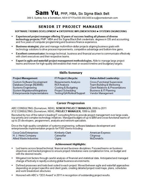 software project manager resume sample experience resumes