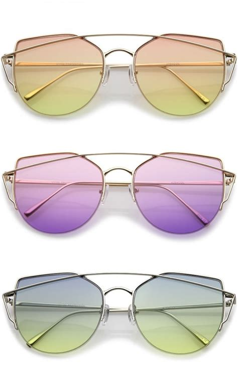 Colored Lens Cat Eye Sunglasses s semi rimless metal brow bar colored flat