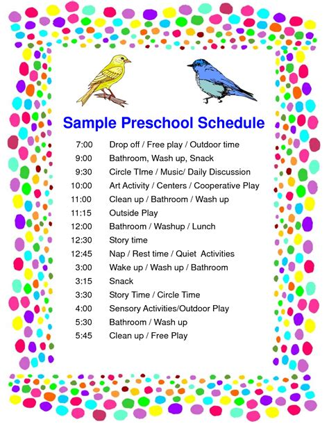 preschool classroom schedule template 5 best images of preschool classroom schedule printables