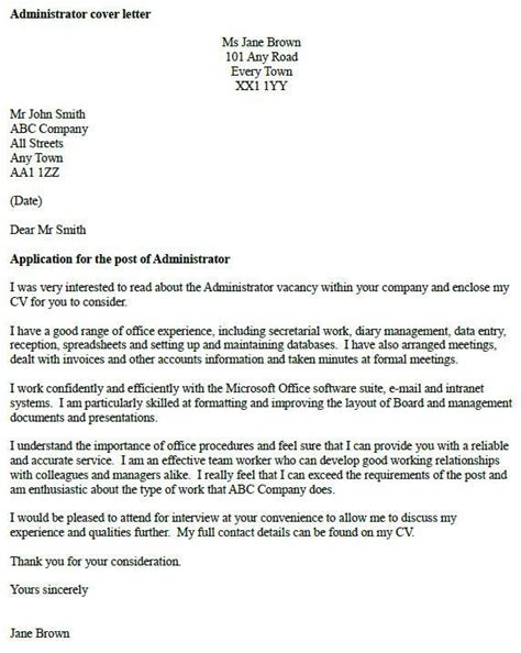 how to write cover letter uk administrator cover letter exle icover org uk