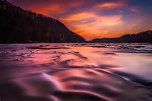 Sunset on the shenandoah river long exposure landscape photography