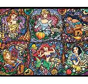 Pattern Stained Glass Disney Princesses Ariel Cinderella Paper
