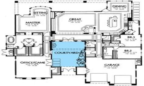 small courtyard house plans south west house plans with courtyard small southwestern