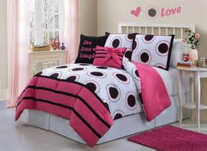 Teen girl comforters pink and white