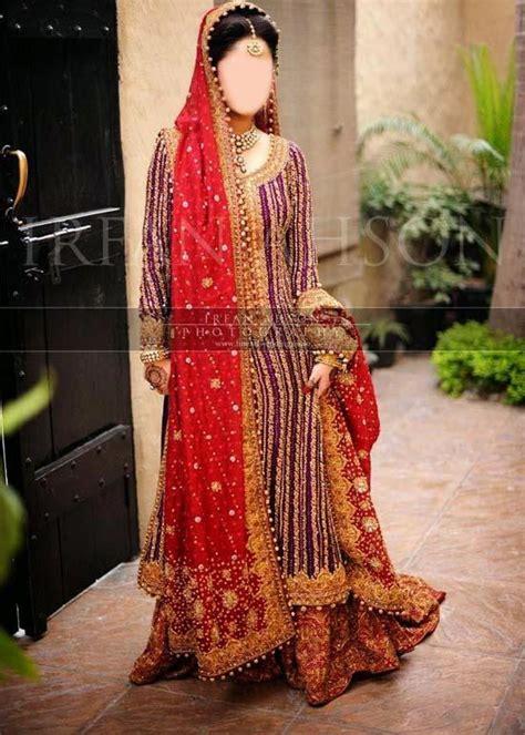 Red Green Color Combination Sharara And Gharara Suit Bridal Wedding Dress Designs 2015