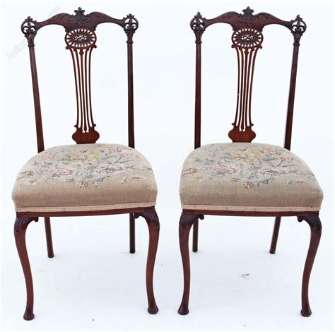 antique bedroom chairs pair j shoolbred mahogany hall side bedroom chairs