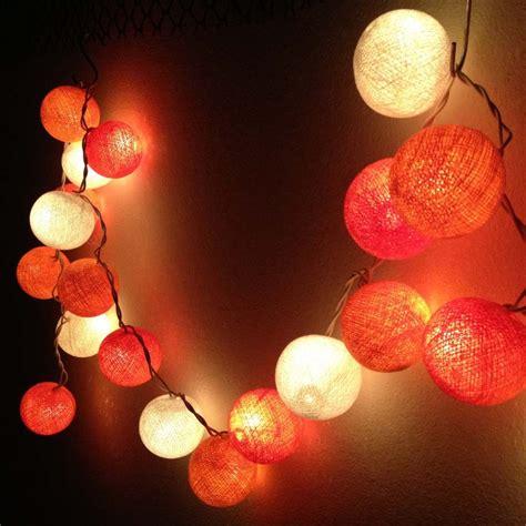 Shades Of Orange Round Cotton Ball Handmade String Lights Light Up Balls On String