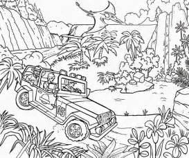 Prehistoric Dinosaur River Track Jungle Jeep Car Fun Coloring Jurassic  sketch template