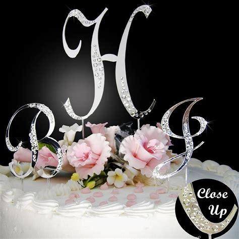 Sparkle Monogram Inital Cake Toppers with Swarovski ... M Letter In Heart