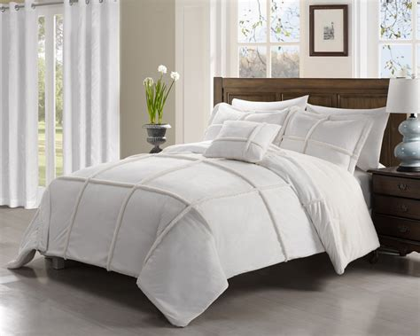 4 piece king microsuede sherpa comforter set white