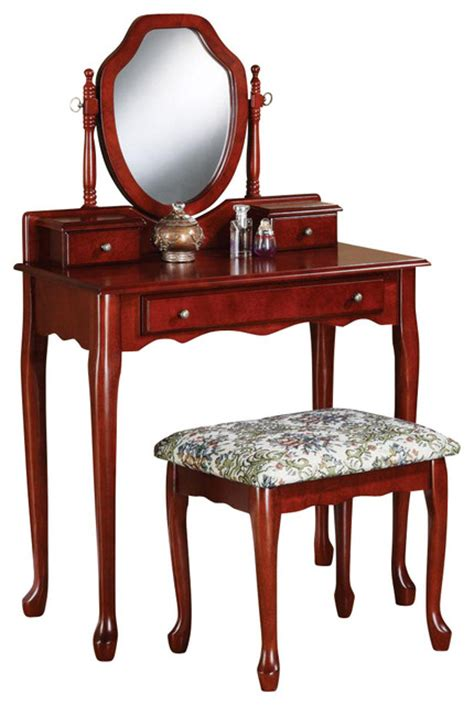 Cherry Makeup Vanity by Traditional Cherry Vanity Set Swivel Mirror Make Up Table