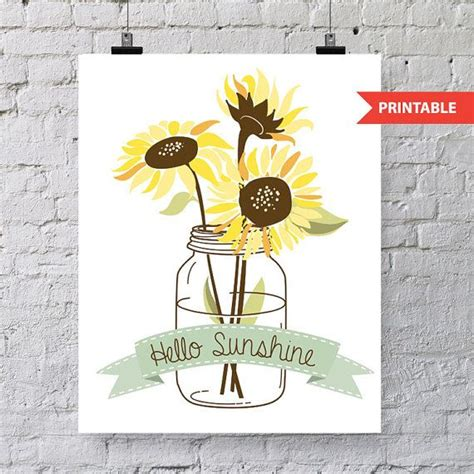 printable sunflower bookmarks instant download mason jar and sunflower printable makes a