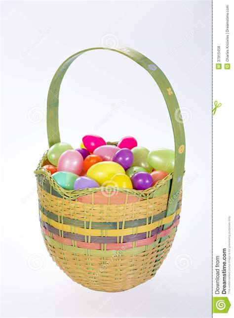beautiful easter baskets beautiful easter basket with plastic eggs stock photo