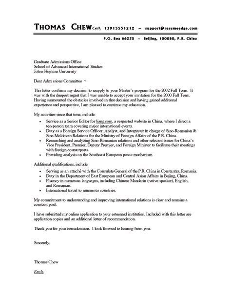 cover letter graduate school sle reapplication to graduate school cover letter