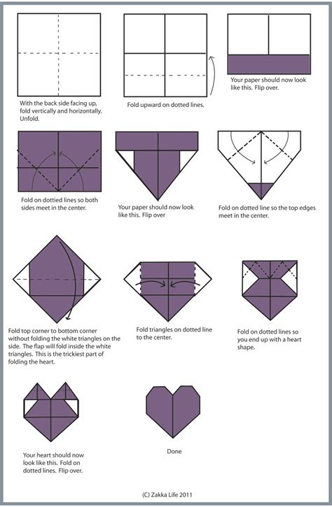 Dollar Origami Step By Step - zakka craft origami valentines