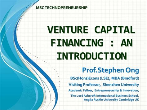 Mba For Venture Capital by Gs503 Venture Capital Financing Intro 120115