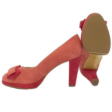 kaiser emina pink suede peep toe shoes mozimo