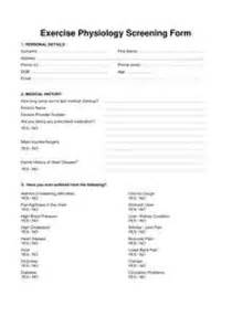 Pre Exercise Screening Form Template by Quals And Legislations Pre Exercise Screening In Sport