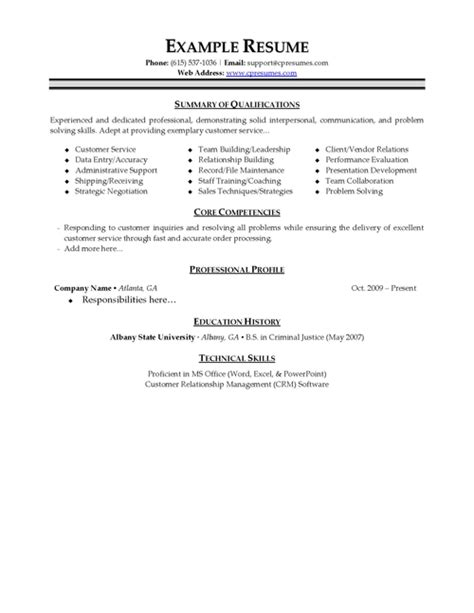 resume format customer service resume templates free