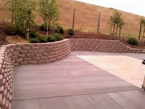 legacy stone retaining wall broom finish concrete