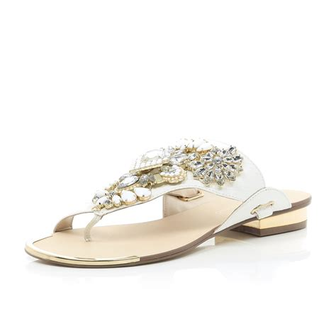 white embellished sandals river island white slip on embellished sandals in white lyst