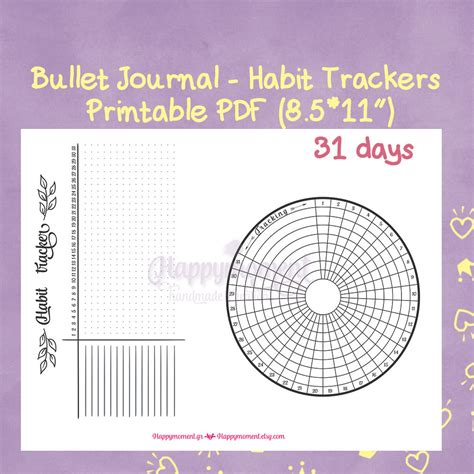 monthly habit tracker printable instant download pdf bullet journal habit trackers printable sticker circular and