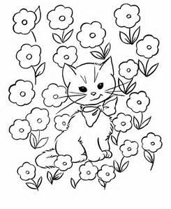Flowers kids colors pages flowers pictures cat colors cat kids
