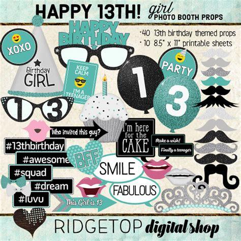 happy birthday photo booth props printable photo booth props happy 13th birthday girl printable