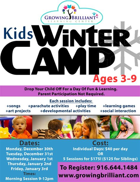 Winter Camp at Growing Brilliant Ages 3 9