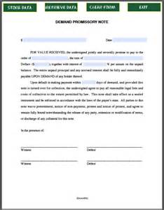 demand promissory note template free fillable pdf forms