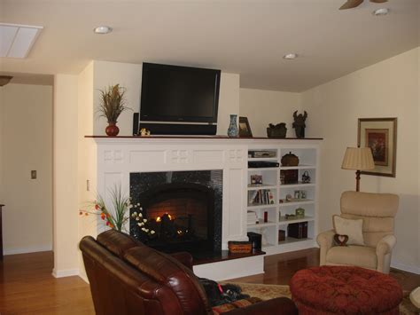 built  shelving   fireplace home project