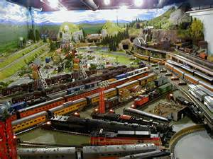 On this awesome ho train layout the scenes and mountain range design