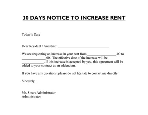 rent increase notice template rent increase letter 7 sles in word pdf format