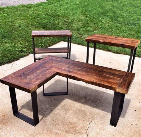 reclaimed wood  shaped desk  rockville md usa