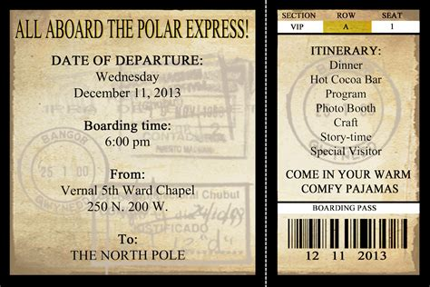 polar express printable ticket new calendar template site
