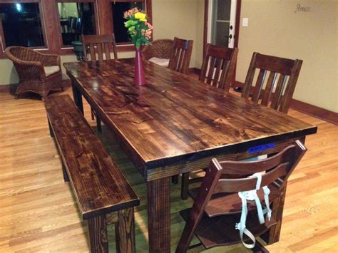 How To Stain Dining Table 8 Farmhouse Table In Vintage Walnut Stain Rustic Dining Room Other Metro