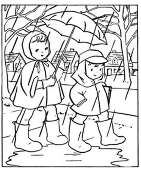 rain jacket coloring page boy with his umbrella and rain jacket under the spring